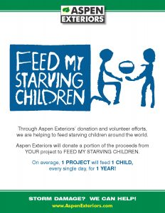 Aspen Exteriors supports Feed My Starving Children