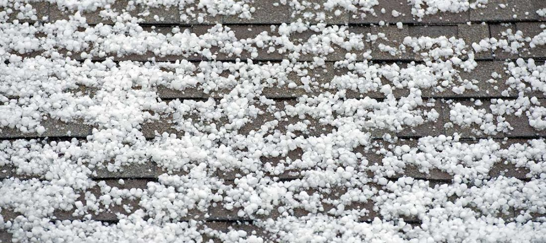 Hail Collecting On Roof